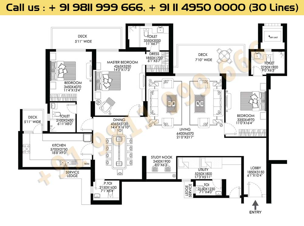 DLF Crest B Block 3 BHK Floor Plan