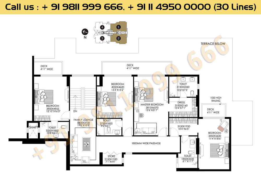 DLF Crest Block C Pentouse Floor Plan