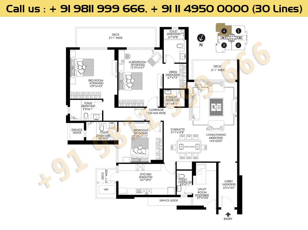 DLF Crest Block E Apartments Floor Plan