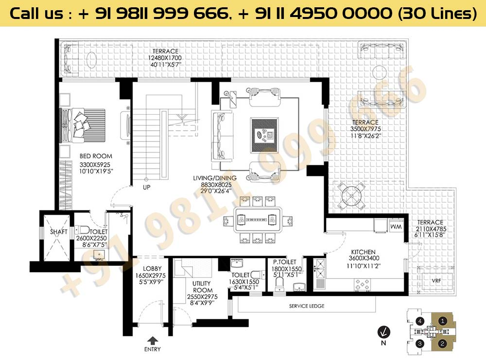 DLF Crest Block E Pentouse Floor Plan